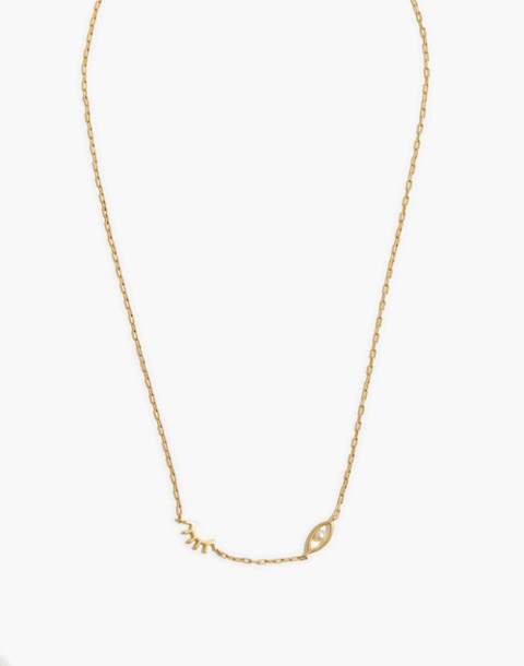Faux-Pearl Winky Necklace in vintage gold image 1