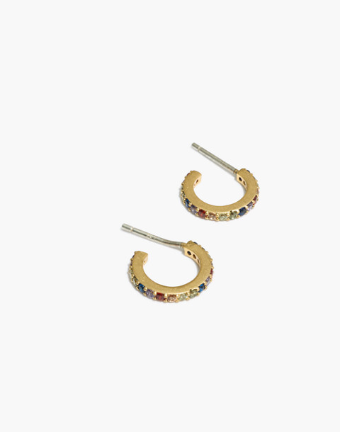 Rainbow Sparkle Pavé Hoop Earrings in vintage gold image 1