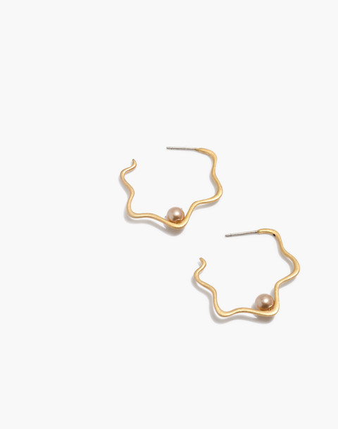 Pearl Catcher Hoop Earrings in champagne pearl image 1