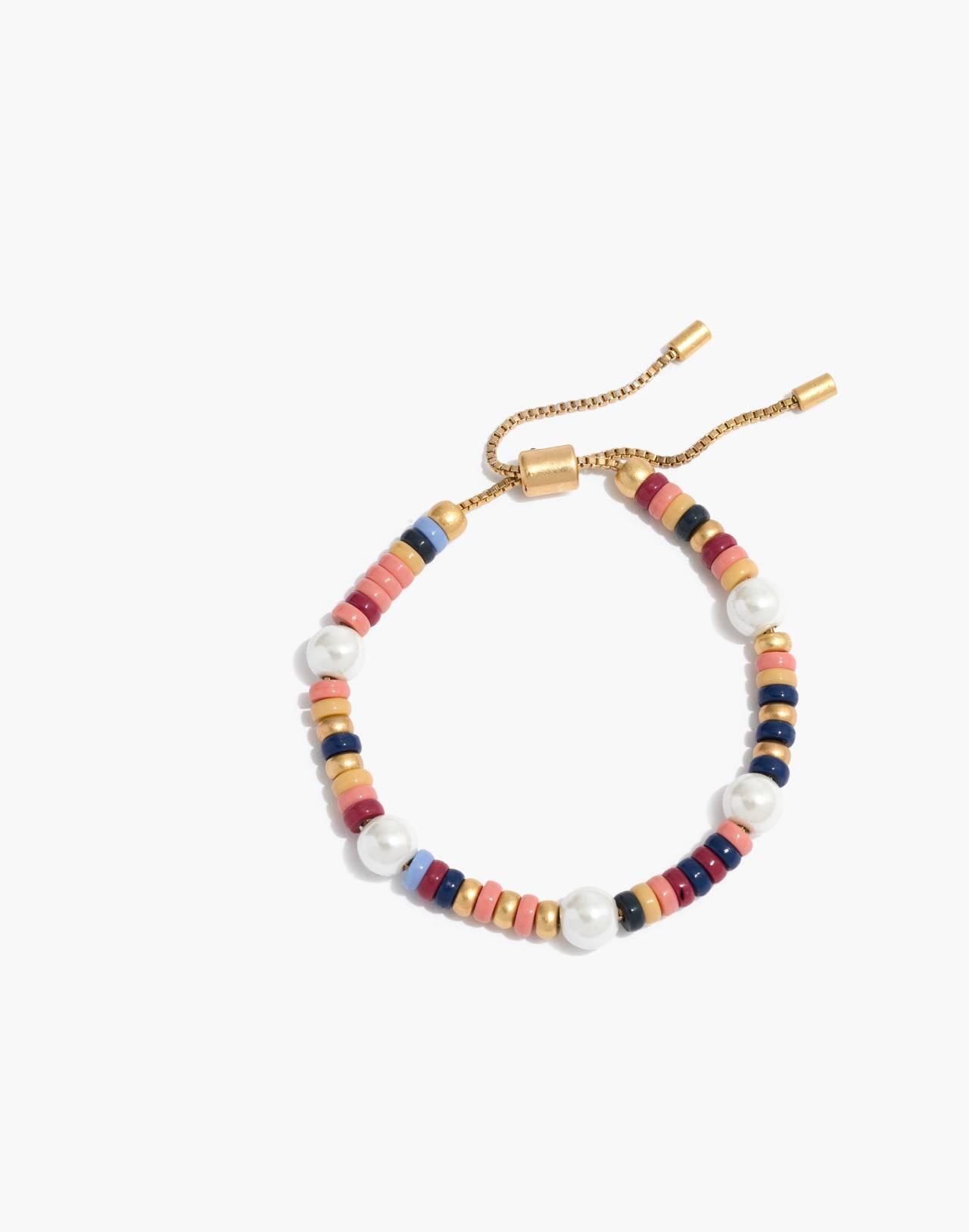Beaded Faux-Pearl Bracelet in rainbow multi image 1