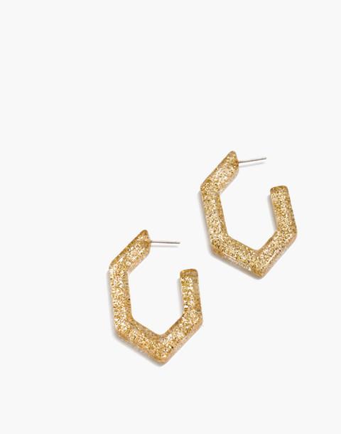 Glitter Oversized Geometric Hoop Earrings in gold glitter image 1