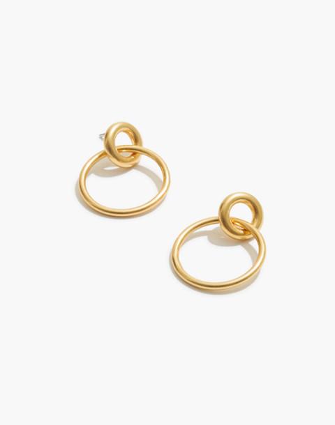 Double Hoop Earrings in vintage gold image 1