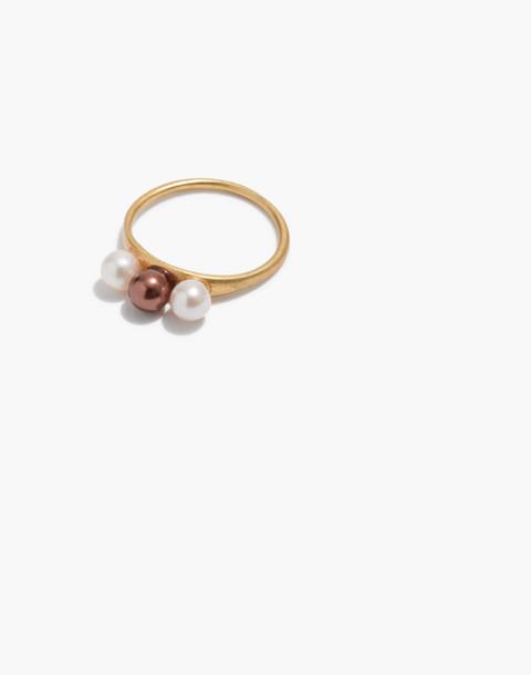 Triple Pearl Ring in multi pearl image 1