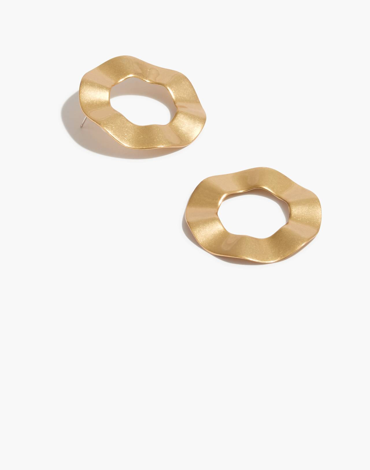 Ripple Ring Earrings in vintage gold image 1