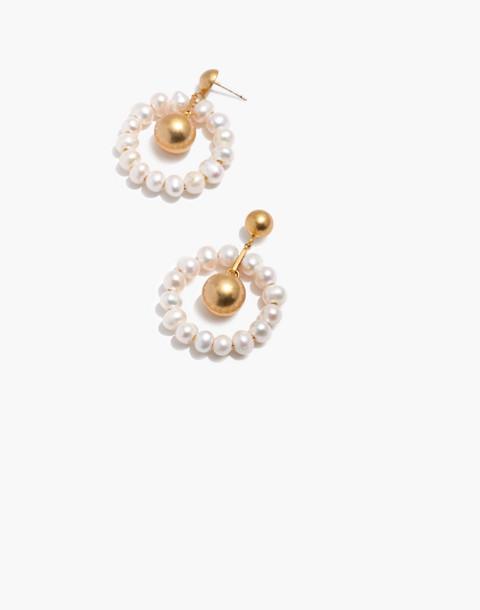 Pearl Hoop Earrings in classic pearl image 1