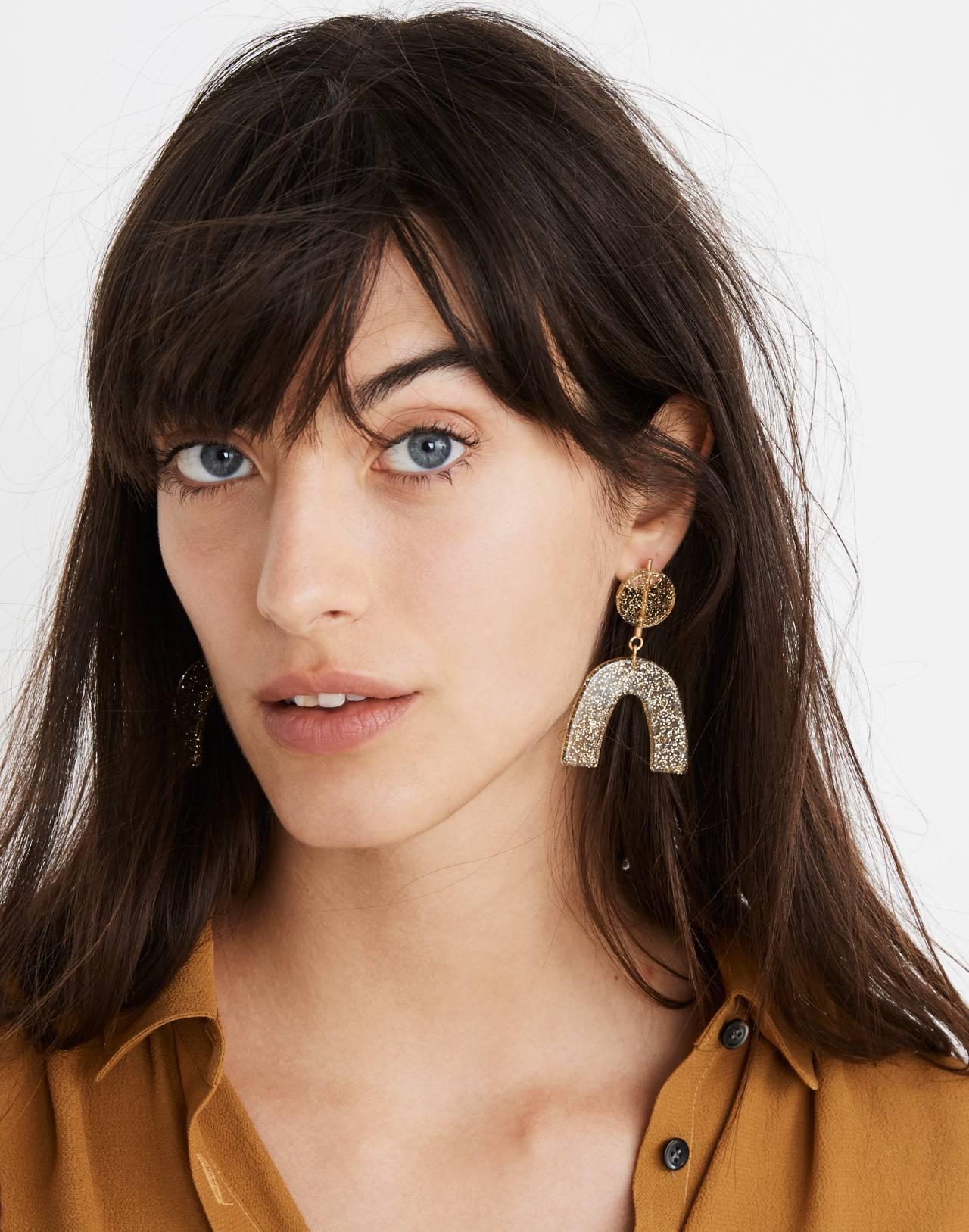 Glitter Shapes Statement Earrings in gold glitter image 2