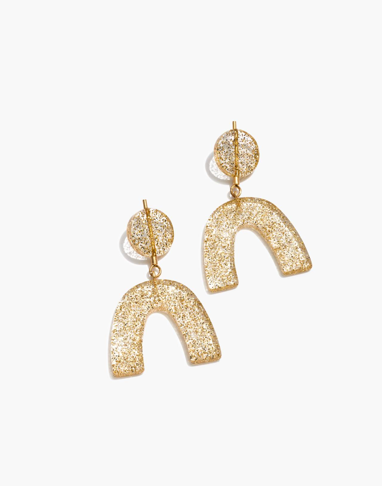 Glitter Shapes Statement Earrings in gold glitter image 1