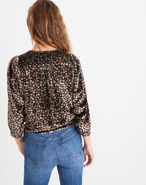 Velvet Wrap Top in Petite Blooms in burnout true black image 3