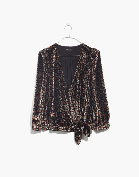 Velvet Wrap Top in Petite Blooms in burnout true black image 4