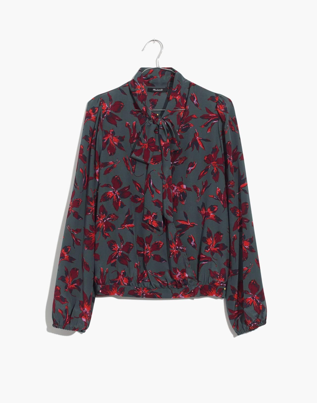 Silk Tie-Neck Wrap Top in Winter Orchid in brigette architect green image 4