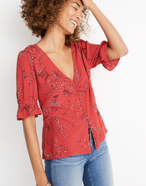 Daylight Top in Windswept Floral in americana floral cranberry image 1