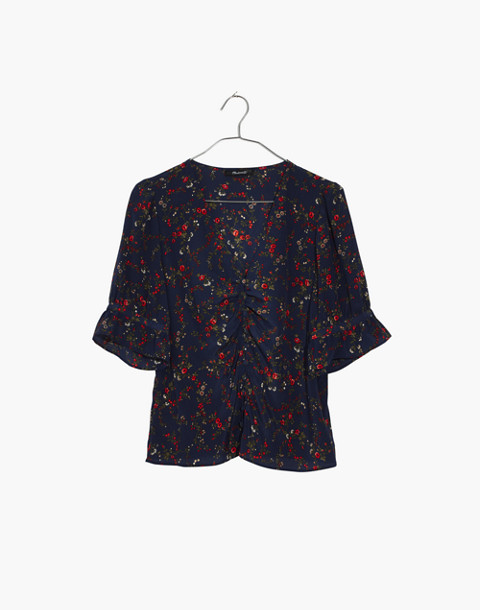 Silk Daylight Top in Moonless Floral in whisper moonless night image 4