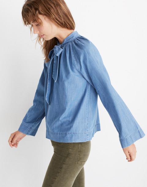 Denim Tie-Neck Popover Shirt in odessa wash image 2