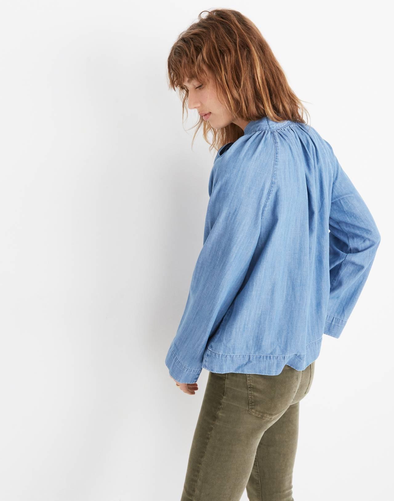 Denim Tie-Neck Popover Shirt in odessa wash image 3