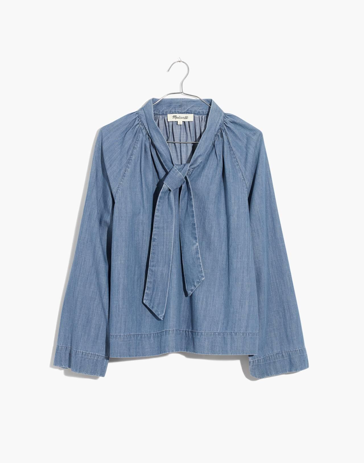 Denim Tie-Neck Popover Shirt in odessa wash image 4