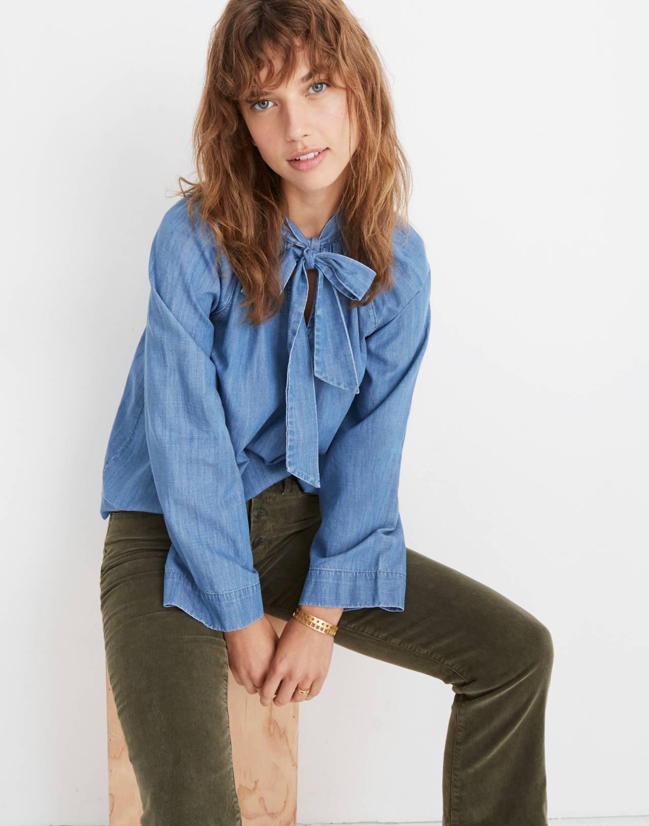 Denim Tie-Neck Popover Shirt in odessa wash image 1