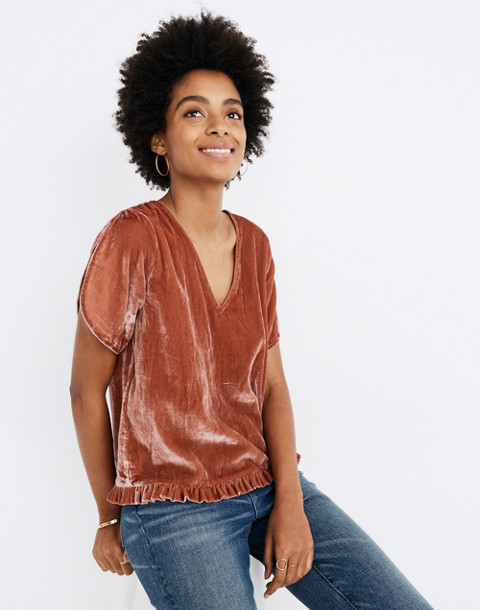 Velvet Tulip-Sleeve Ruffle Top in afterglow red image 2