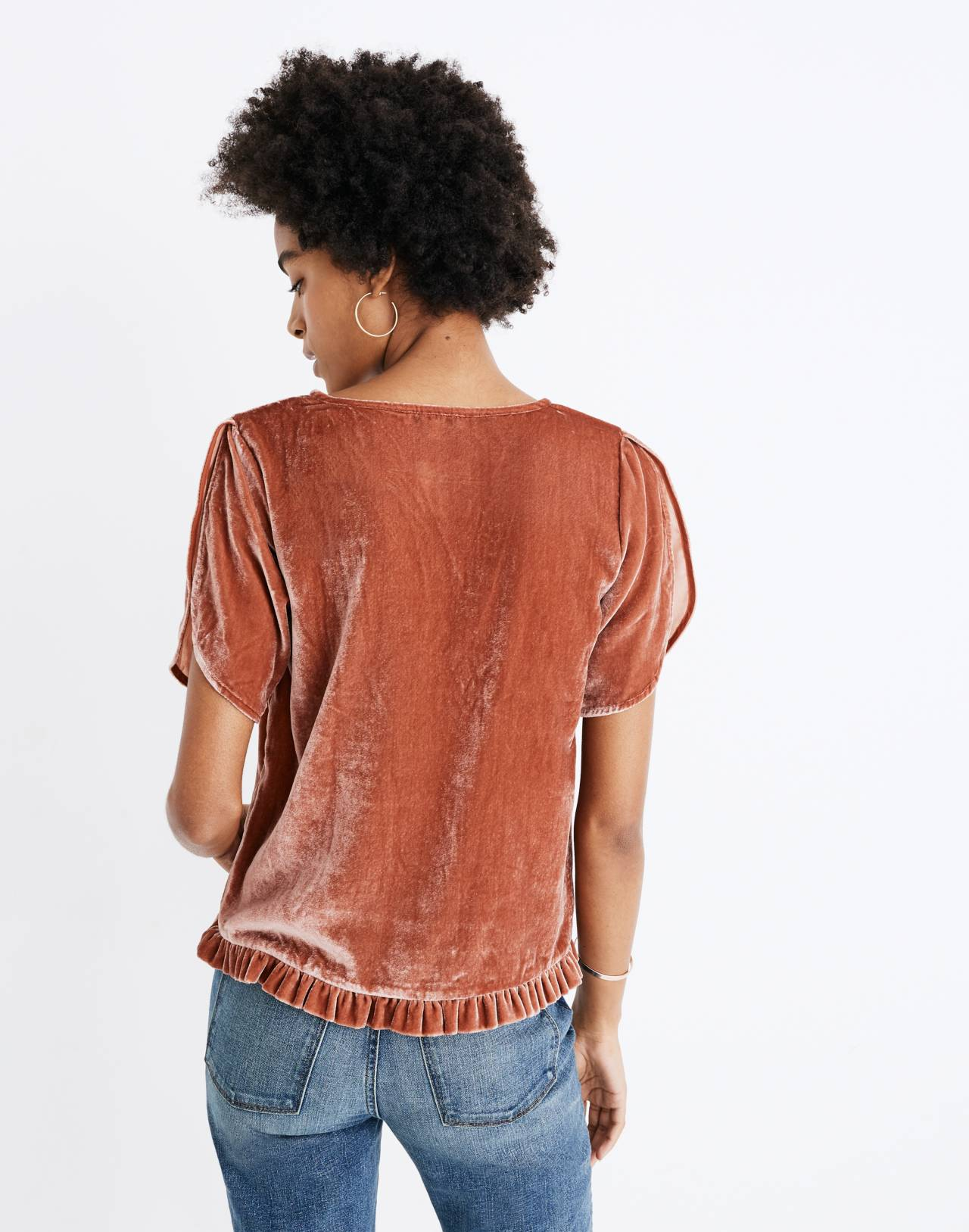 Velvet Tulip-Sleeve Ruffle Top in afterglow red image 3