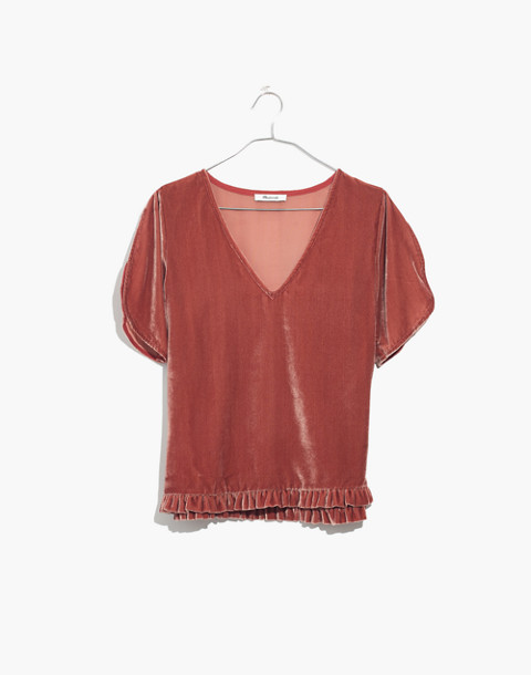 Velvet Tulip-Sleeve Ruffle Top in afterglow red image 4