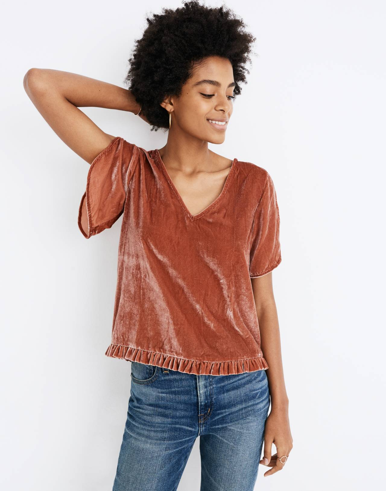 Velvet Tulip-Sleeve Ruffle Top in afterglow red image 1