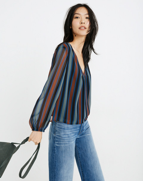 Sheer-Sleeve Top in Academy Stripe in winter architect green image 2