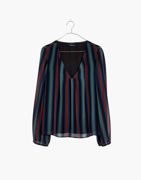 Sheer-Sleeve Top in Academy Stripe in winter architect green image 4