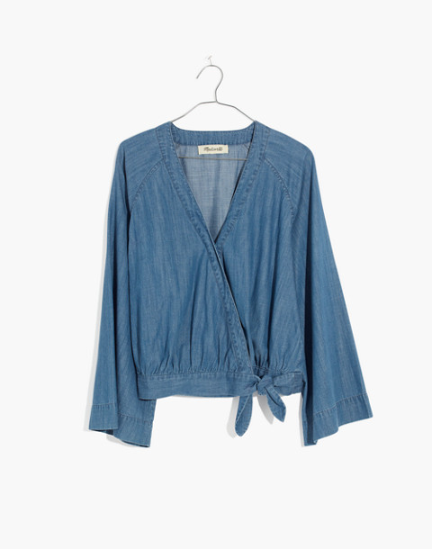 Denim Bell-Sleeve Wrap Top in draper wash image 4