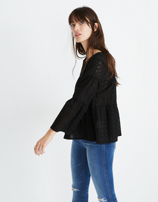 Eyelet Tiered Button-Back Top in true black image 2