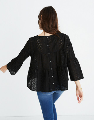 Eyelet Tiered Button-Back Top in true black image 3