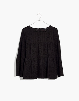 Eyelet Tiered Button-Back Top in true black image 4