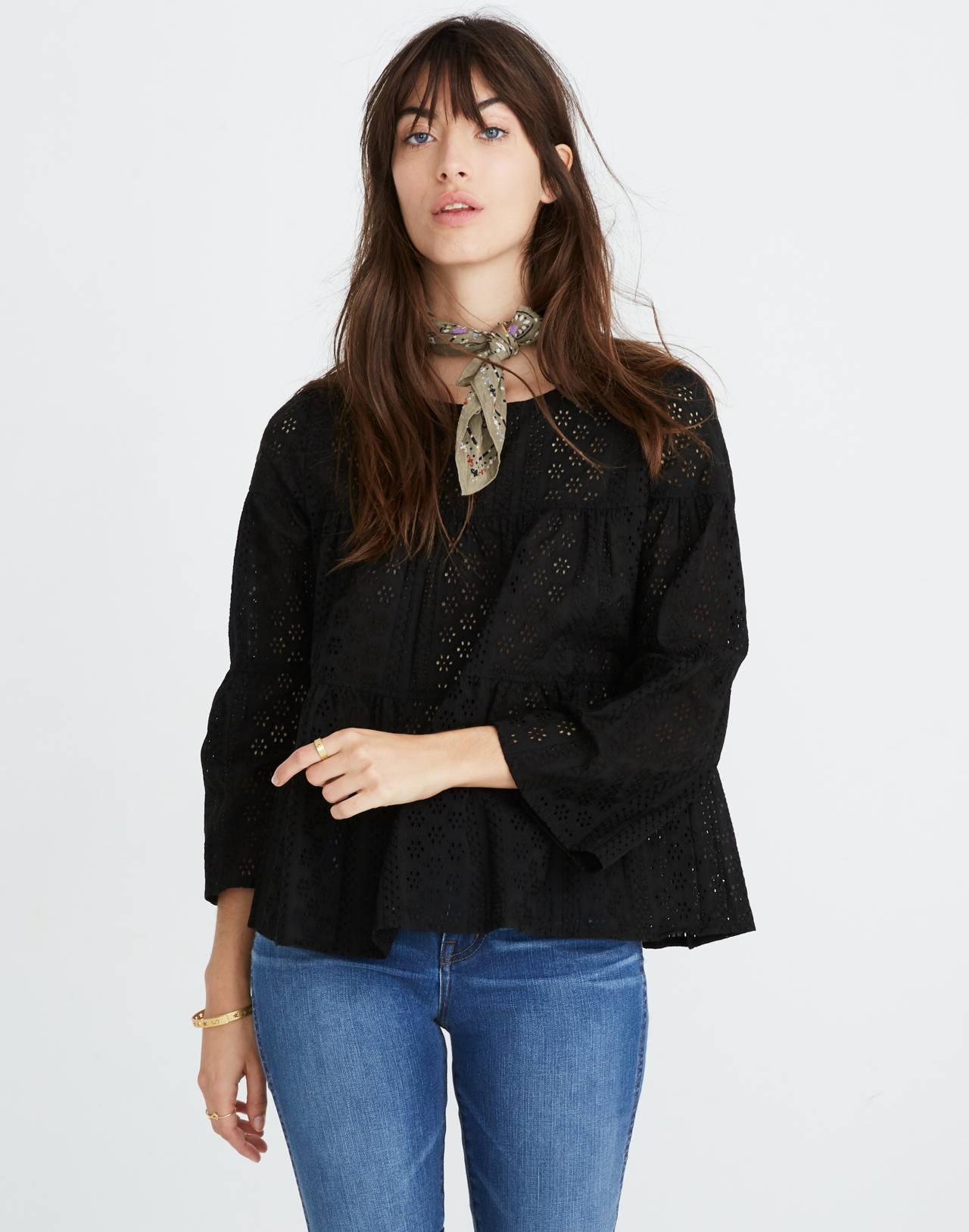 Eyelet Tiered Button-Back Top in true black image 1