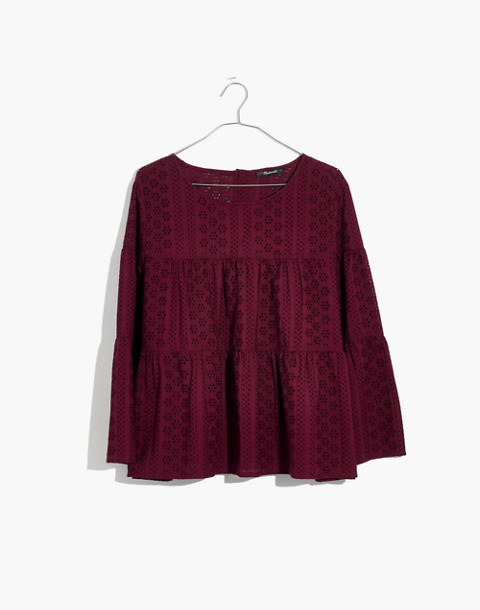 Eyelet Tiered Button-Back Top in pinot noir image 1