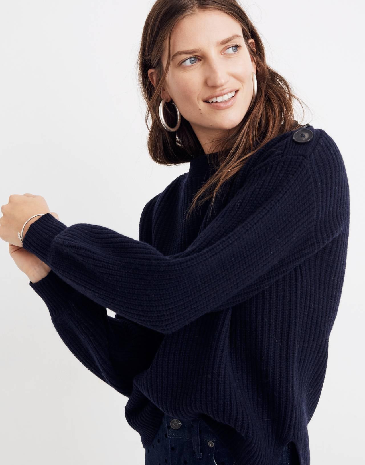 Boatneck Button-Shoulder Sweater in navy image 2