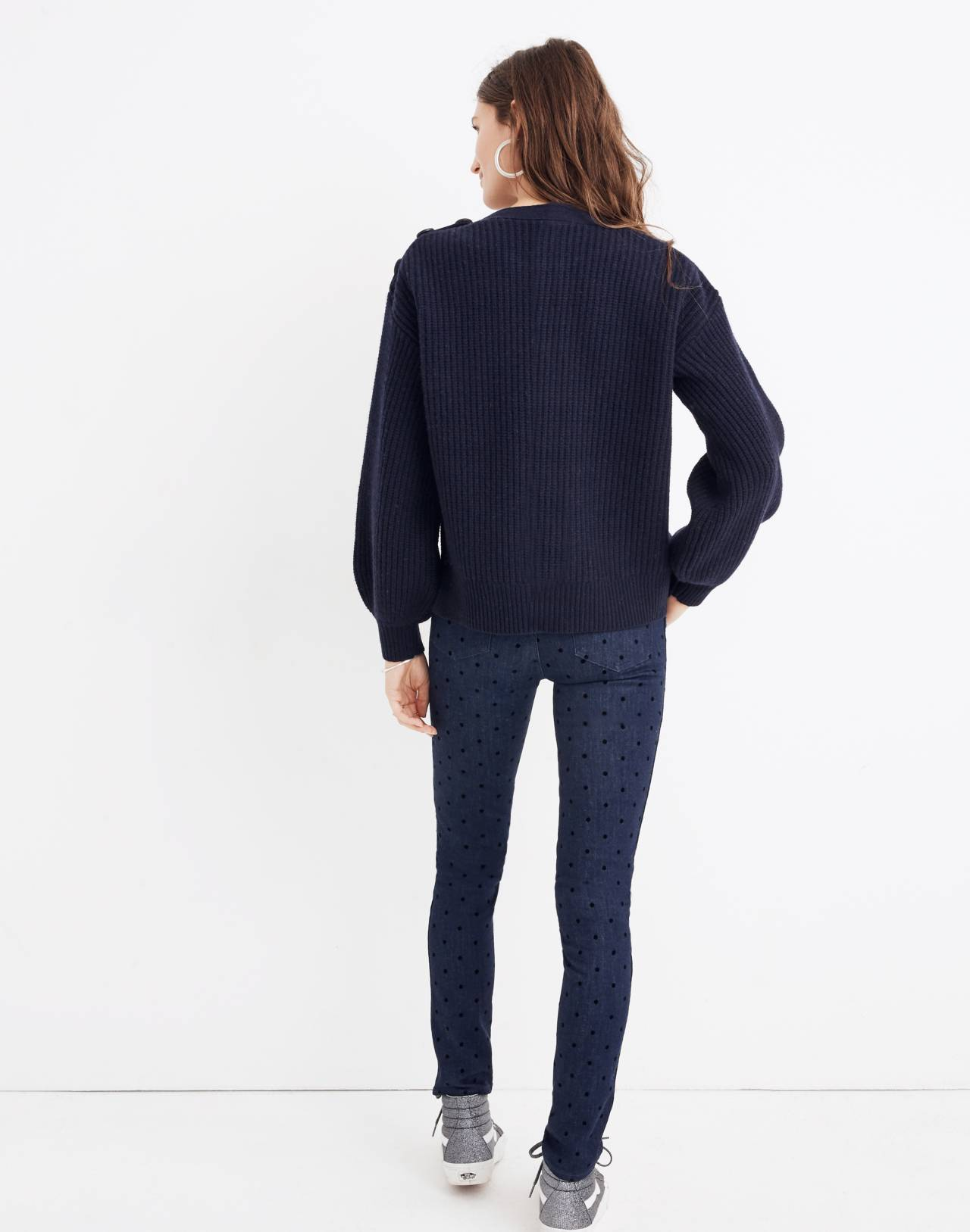 Boatneck Button-Shoulder Sweater in navy image 3