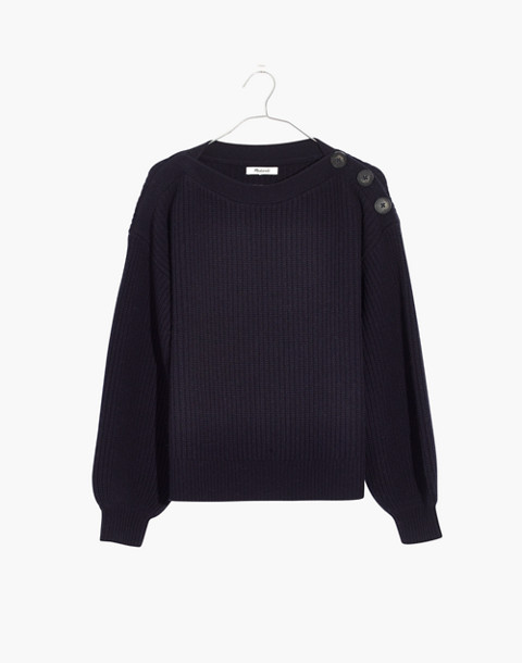 Boatneck Button-Shoulder Sweater in navy image 4