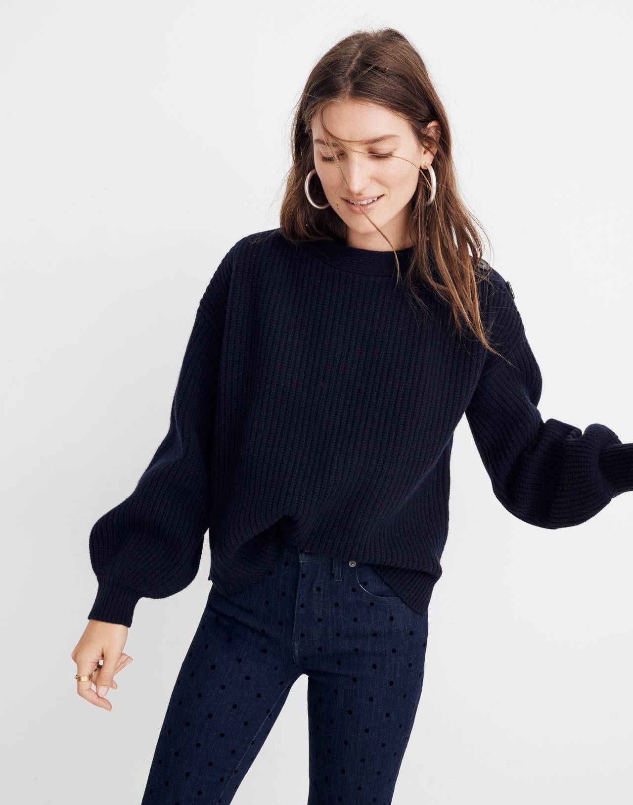 Boatneck Button-Shoulder Sweater in navy image 1