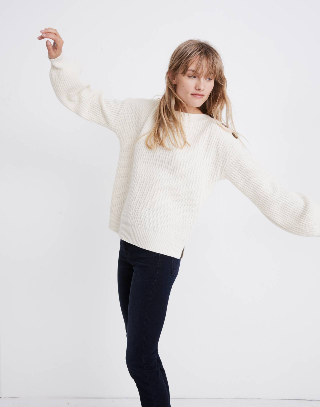 Boatneck Button-Shoulder Sweater in antique cream image 2