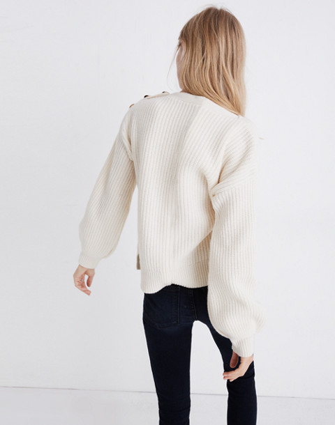 Boatneck Button-Shoulder Sweater in antique cream image 3