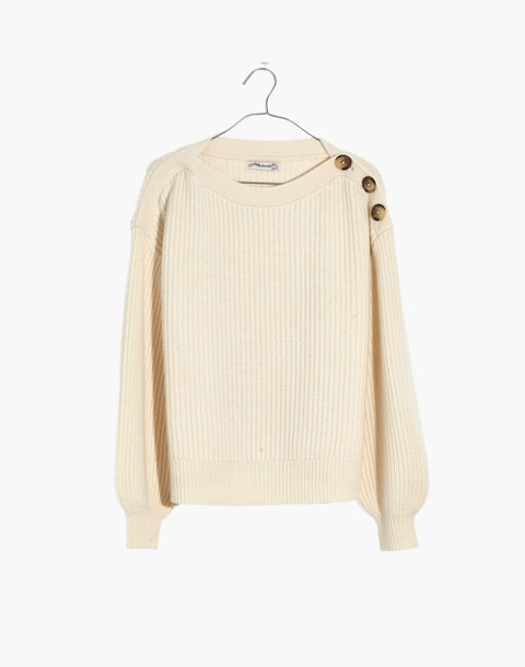 Boatneck Button-Shoulder Sweater in antique cream image 4
