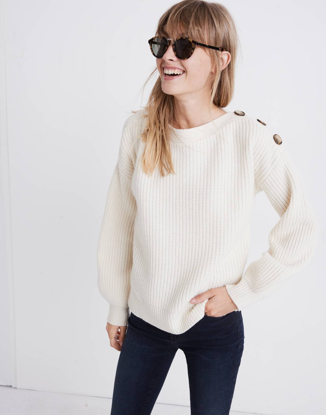 Boatneck Button-Shoulder Sweater in antique cream image 1