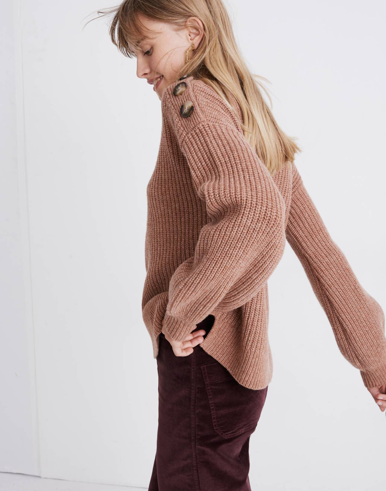 Boatneck Button-Shoulder Sweater in heather earth image 2