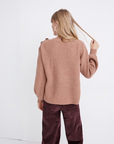 Boatneck Button-Shoulder Sweater in heather earth image 3