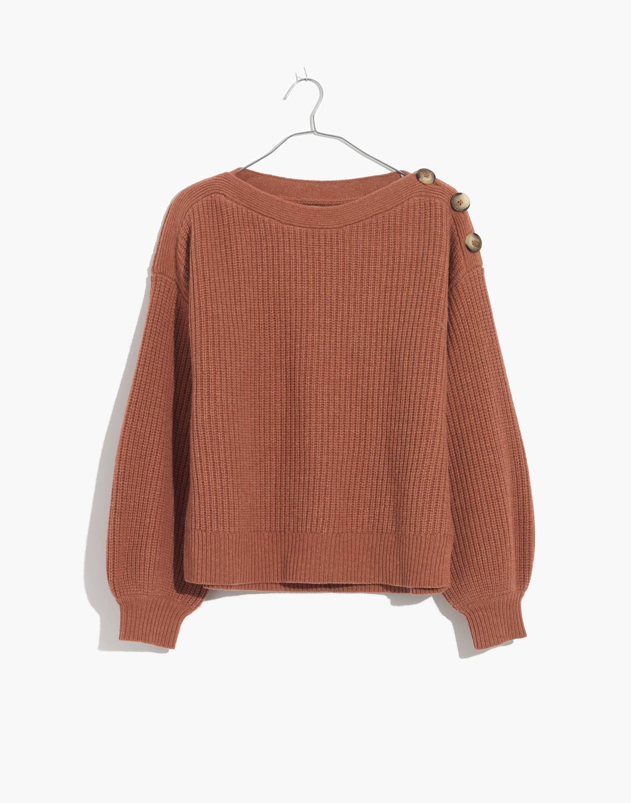 Boatneck Button-Shoulder Sweater in heather earth image 4