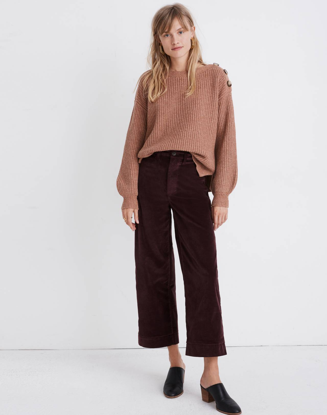 Boatneck Button-Shoulder Sweater in heather earth image 1