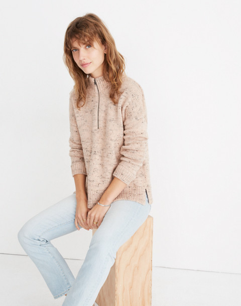 Half-Zip Popover Sweater in donegal blush image 2