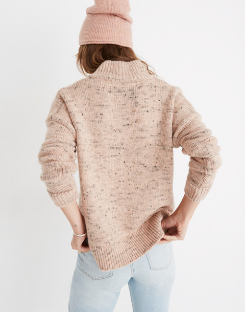 Half-Zip Popover Sweater in donegal blush image 3