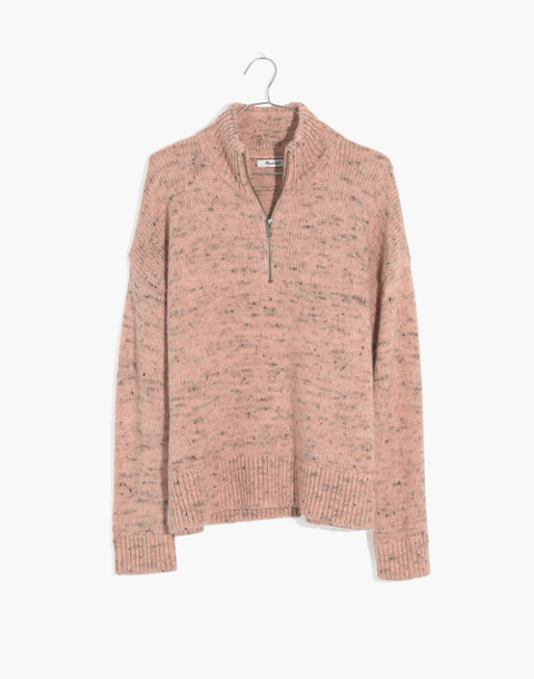 Half-Zip Popover Sweater in donegal blush image 4
