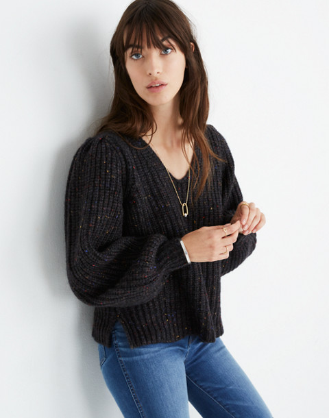 V-Neck Puff-Sleeve Sweater in donegal cyclone image 2
