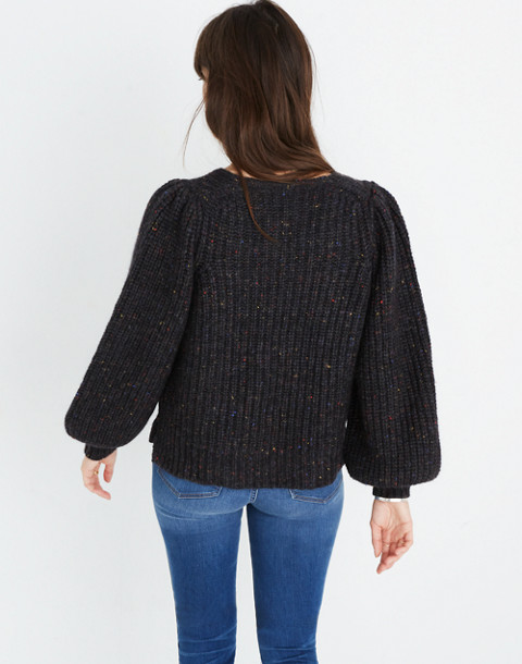 V-Neck Puff-Sleeve Sweater in donegal cyclone image 3