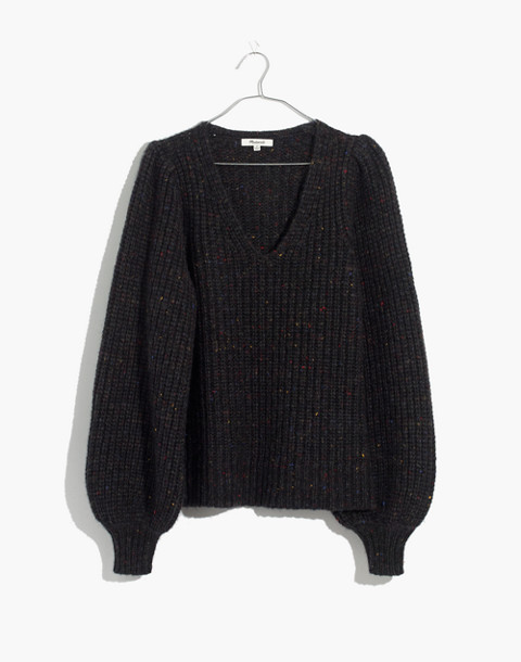 V-Neck Puff-Sleeve Sweater in donegal cyclone image 4